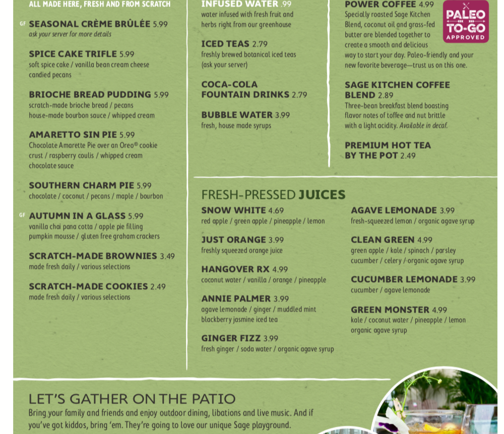 Sage Kitchen menu, page 4