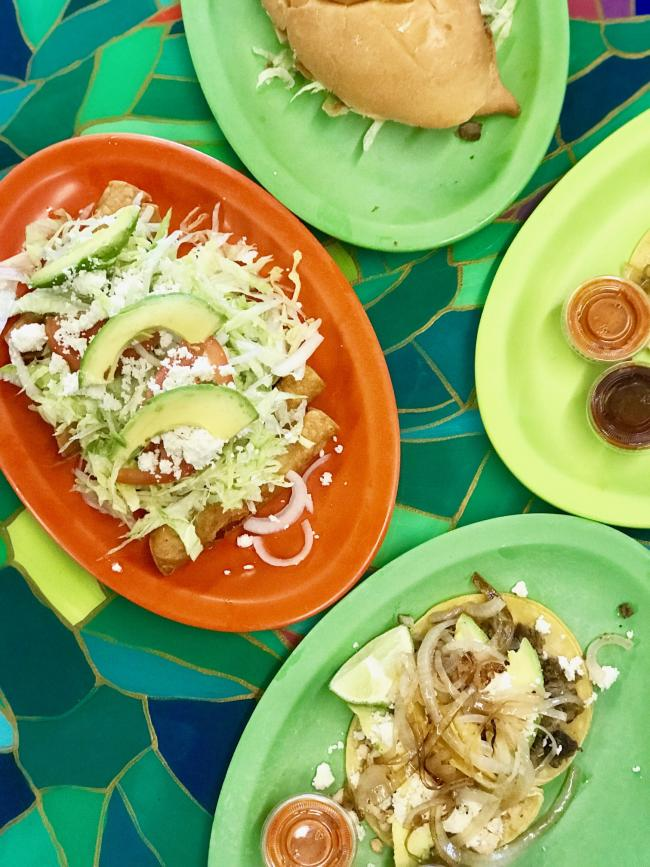 Dishes featured at Tacos la Bamba restaurant