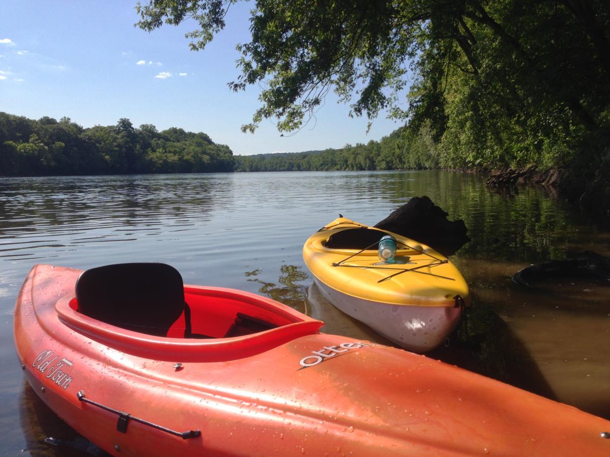 Kayaks on the Delaware River