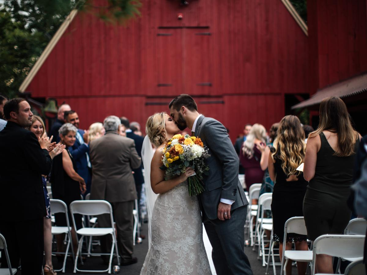 The red barn is a popular backdrop for wedding ceremonies.