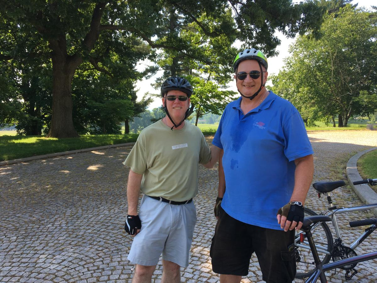 Our blogger (left) with Randy Rice, bike tour guide at Valley Forge Park
