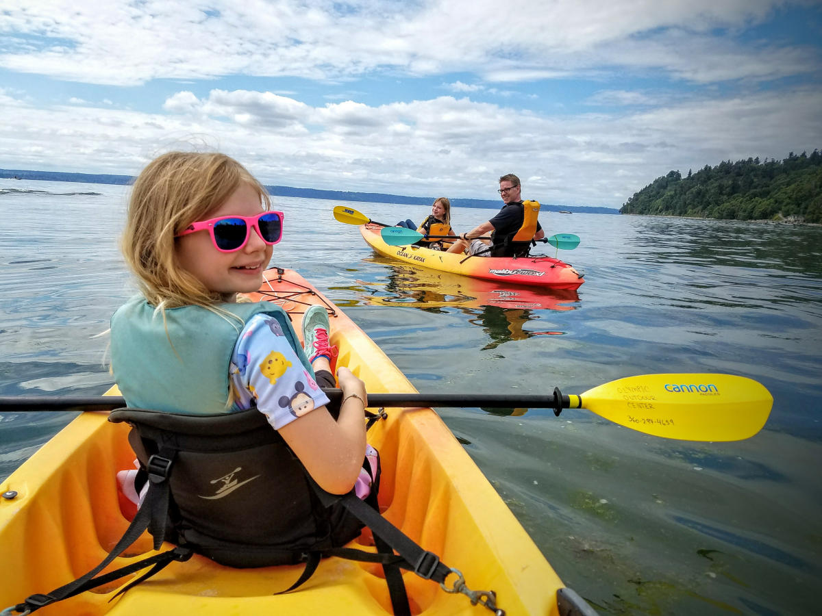 Girl in Kayak on Puget Sound