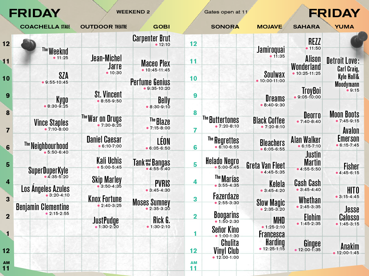 Coachella Set Times Weekend 2 Friday