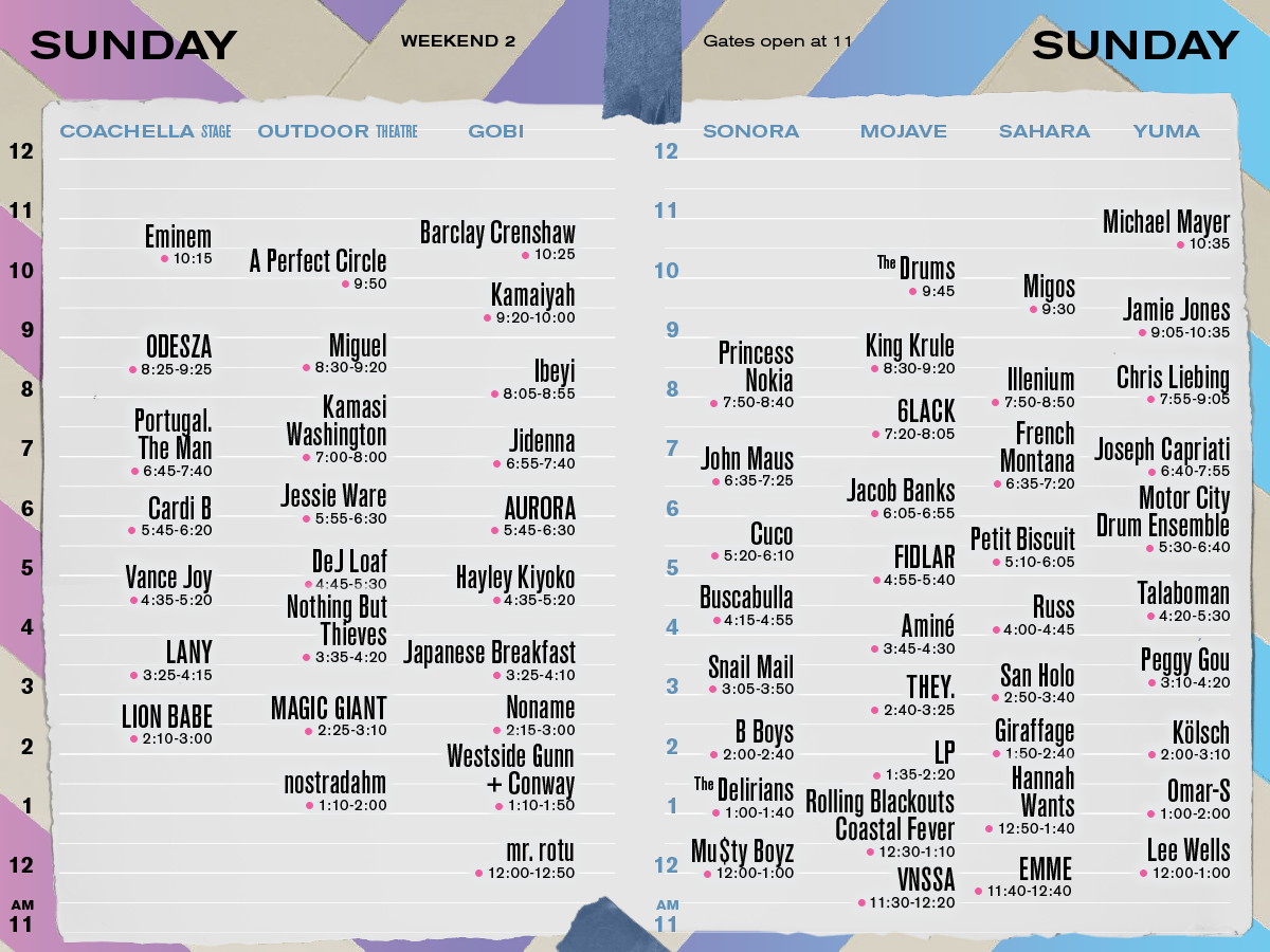 Coachella Set Times Weekend 2 Sunday