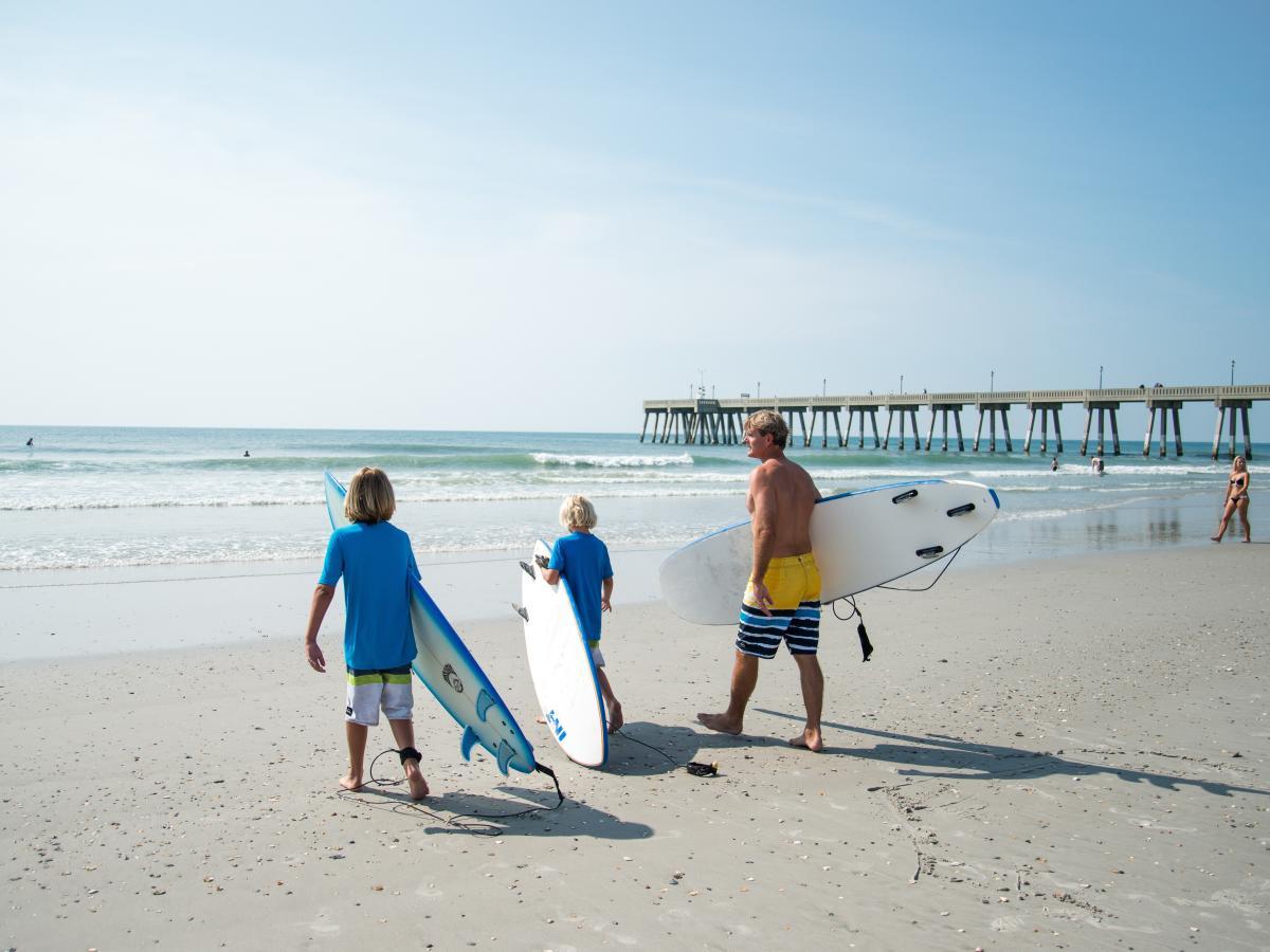 Family surfing on Wrightsville Beach
