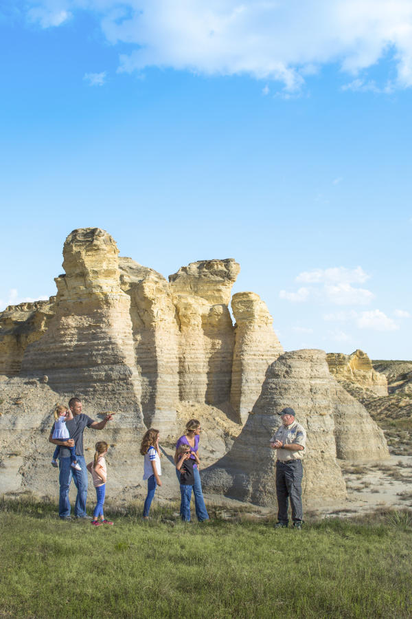 Little Jerusalem Badlands State Park - family and warden - Logan County, KS