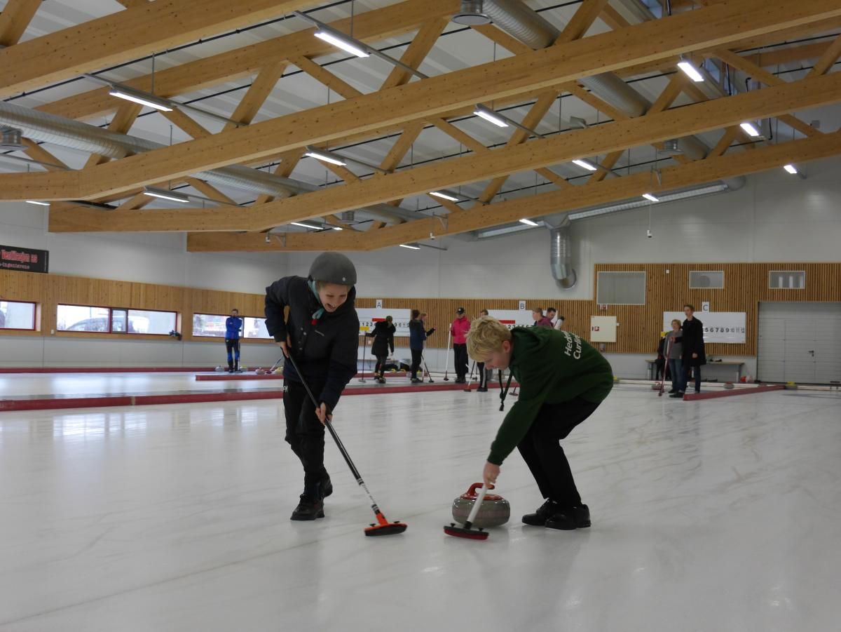 Boys curling at Idda Arena, Kristiansand