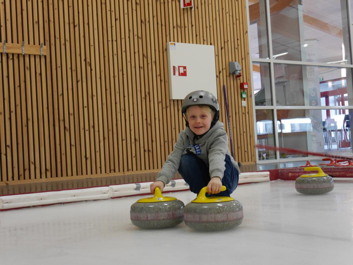 Boy at curling rink in Kristiansand