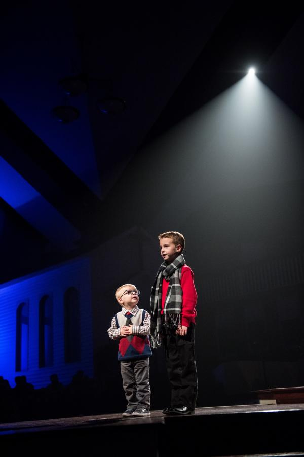 Two little boys at The Chapel during the Christmas special.