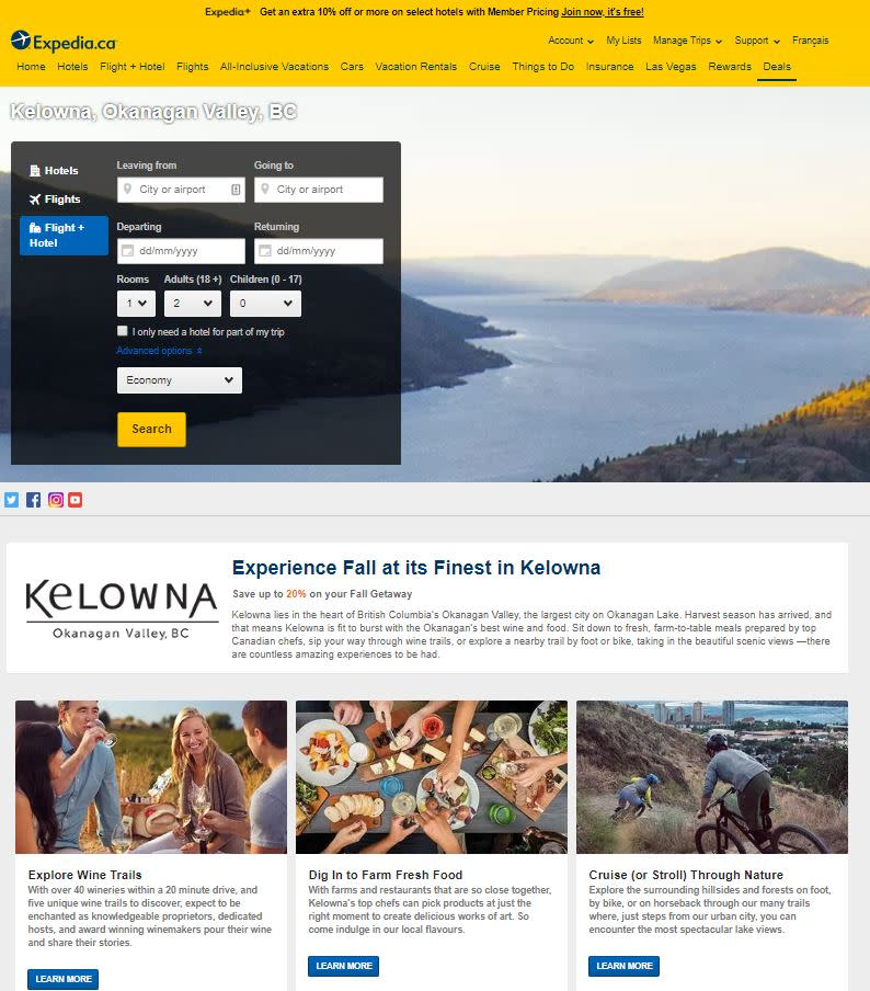 Photo of expedia website