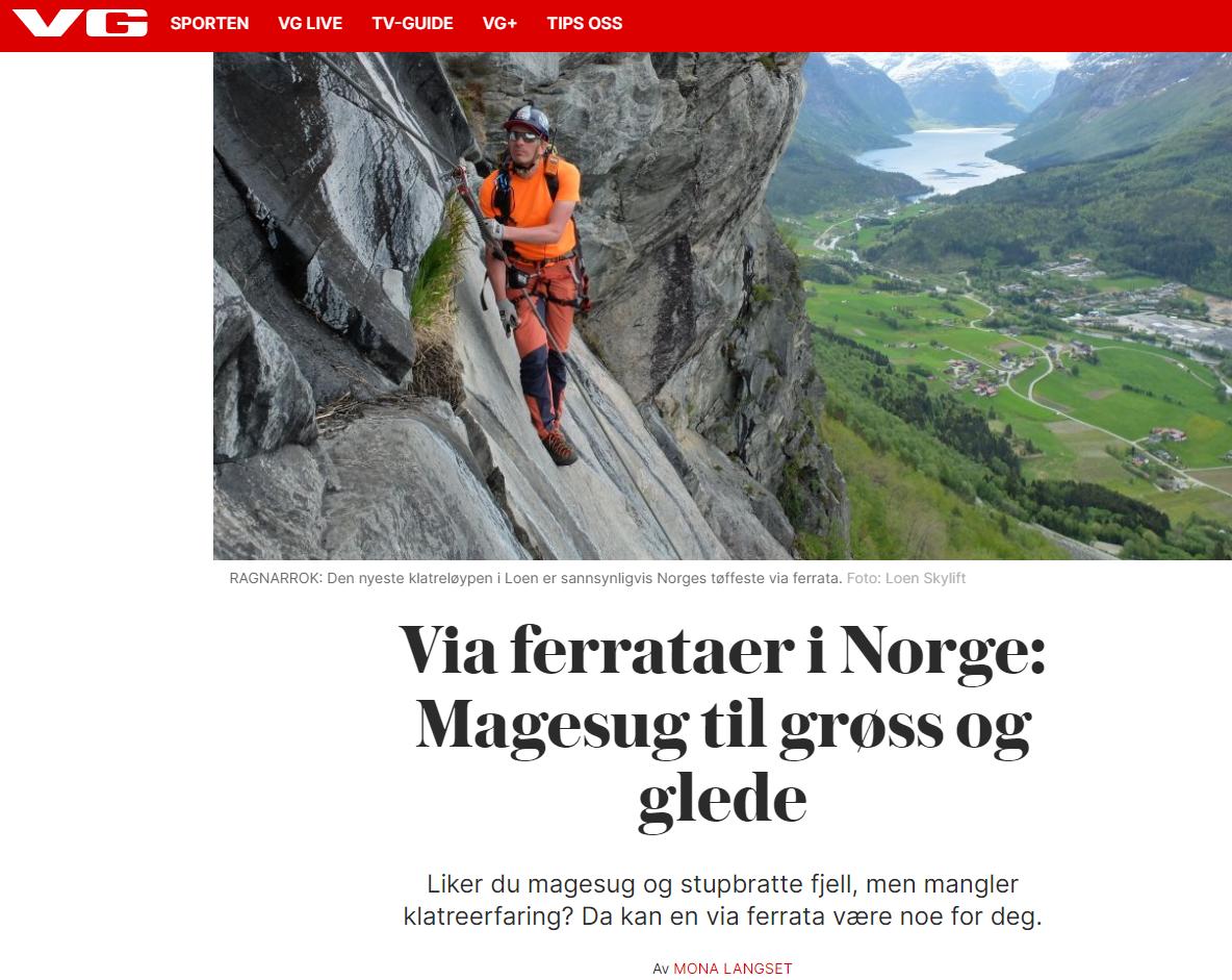 Via ferrataer i Norge - sak i VG
