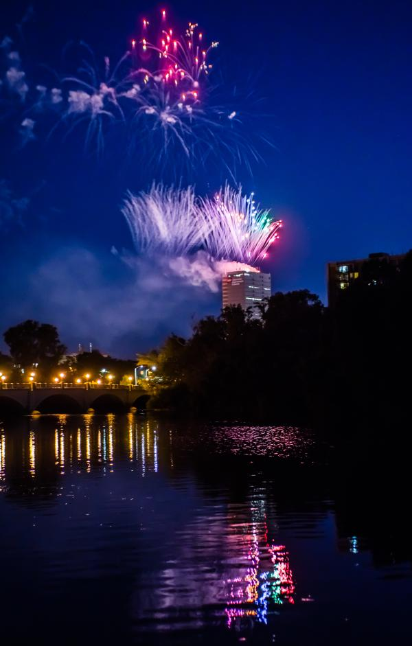 The view from a riverboat cruise of the Fort Wayne skyline at night can be dazzling, as shown in this photo.