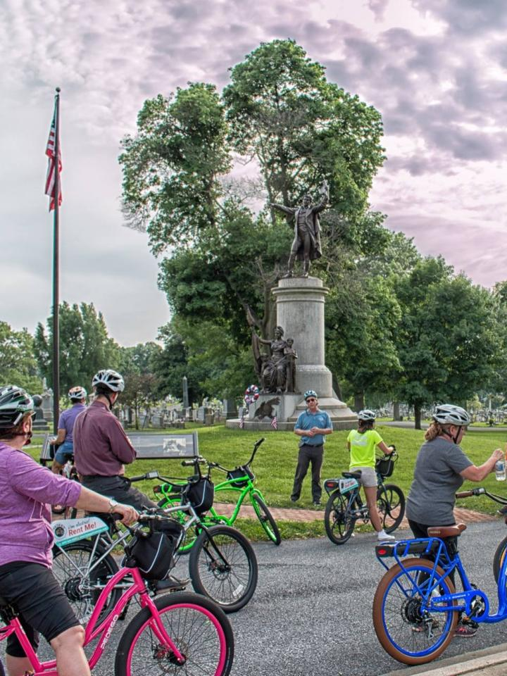 Bikers with their guide on the Pedego Tour