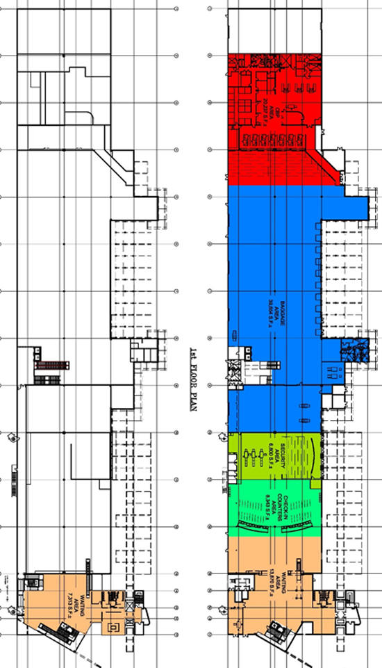 Map of Cruise Terminal 26 first and second floor layout