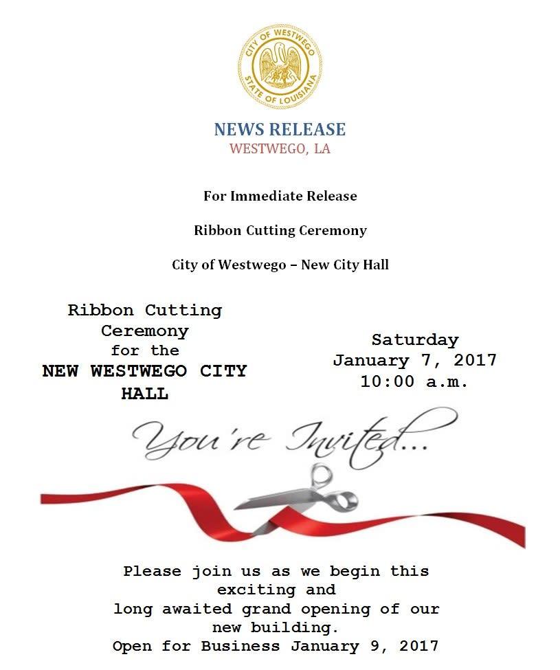Westwego City Hall Ribbon Cutting