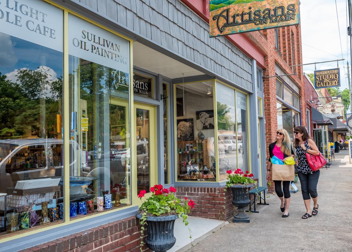 Women Shopping on Main Street in Weaverville
