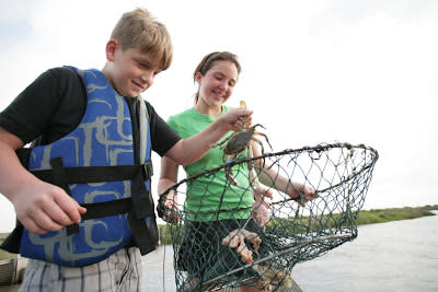 Kids Crabbing on the Creole Nature Trail