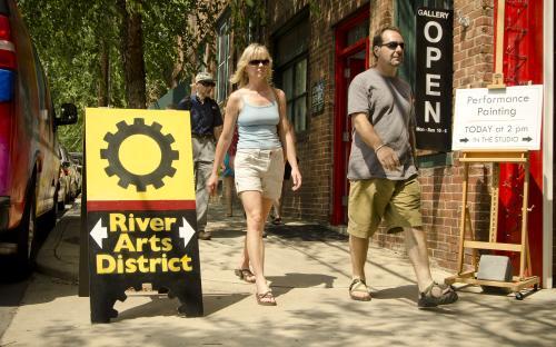 Visitors walking in RAD.