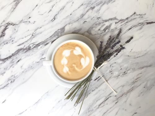 Lavender Latte Coffee from Le Bon Macaron in Grand Rapids
