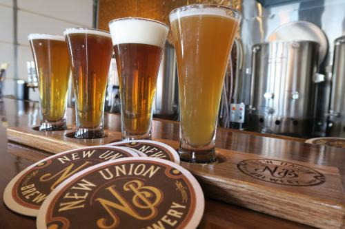 Beer flight at New Union Brewery