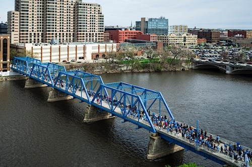 Hope Network Bridge Walk event on the Blue Bridge in Grand Rapids