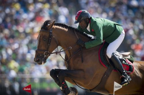 Equestrian competes in horse jumping event
