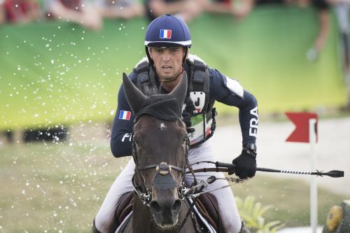 Equestrian competes in an eventing contest