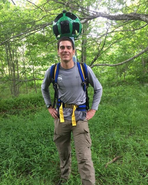 John Heffner carrying the Google Trekker
