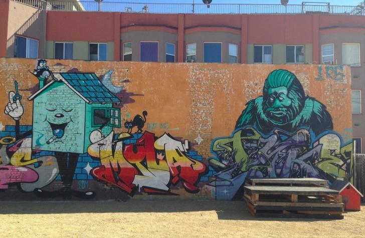 Street art mural by Los Angeles artist Tyke Witness AWR