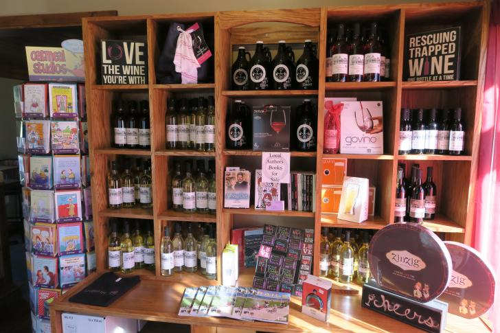Merchandise shelves at Kayla Rae Cellars in Rockford, Michigan
