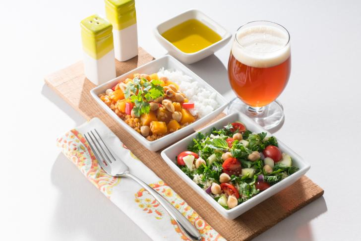 Vegetarian meal with beer