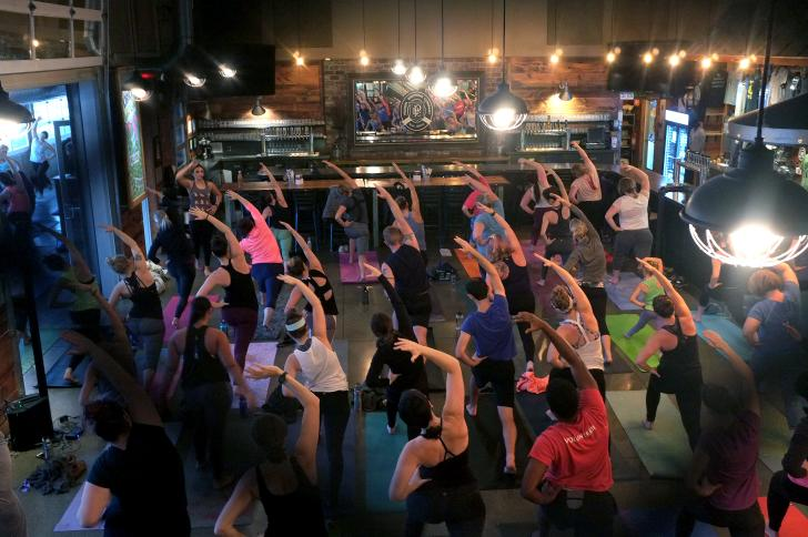Yoga class at Perrin Brewing in Grand Rapids, Michigan