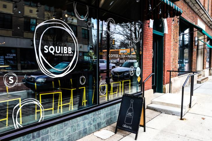 Exterior of Squibb Coffee and Wine Bar in Grand Rapids