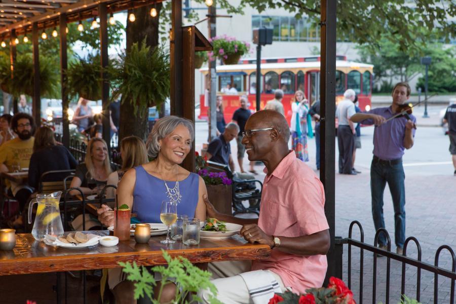 People dining al fresco in downtown Asheville
