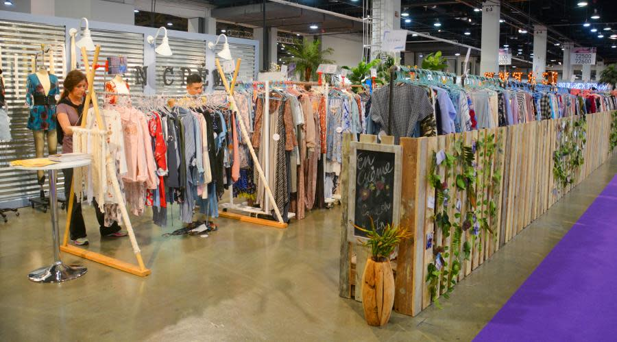 clothing racks at MAGIC Fashion Show in Las Vegas Convention Center