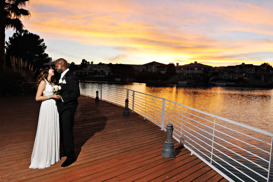 Married Couple in Front of Lake Las Vegas
