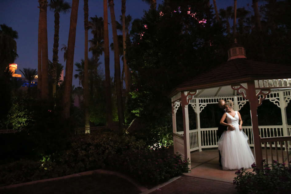 Married Couple at Gazebo Chapel at the Flamingo