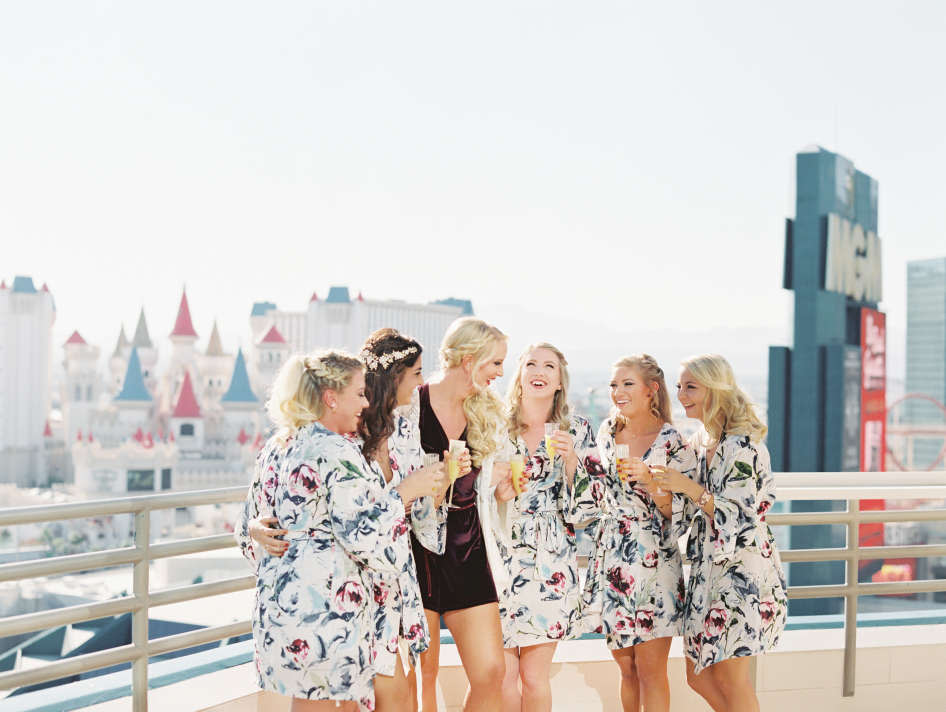 Bride with Brides Maids at Skyline Terrace Suite at MGM