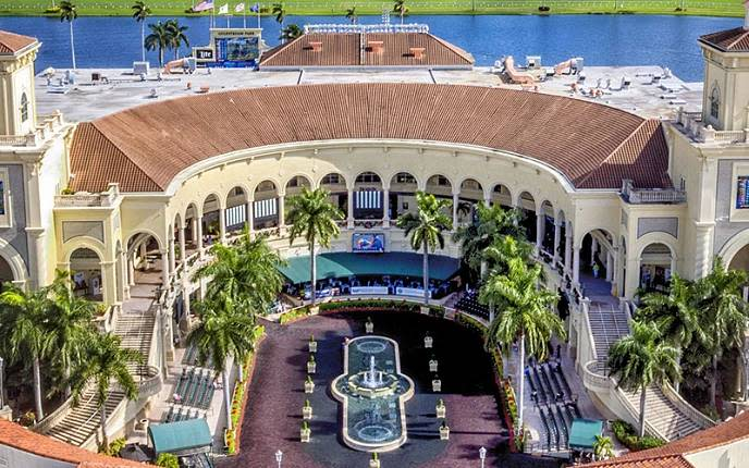 The oval paddock at Gulfstream Park in Fort Lauderdale