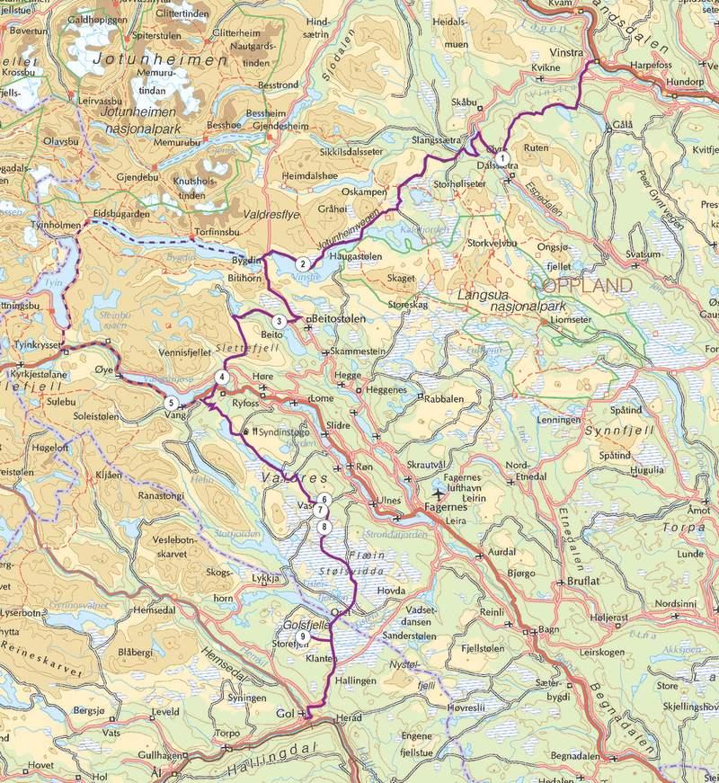 mjølkevegen kart Mjølkevegen cycling route (250 km)
