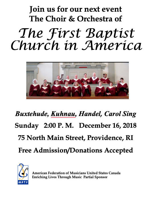 The First Baptist Church in America Holiday Concert and Carol Sing