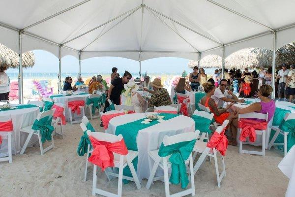Tent Reception on Anna Maria Island - Private Beach House by Gulf Beach Weddings