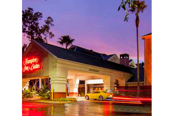 Hampton Inn & Suites Tampa North at night.
