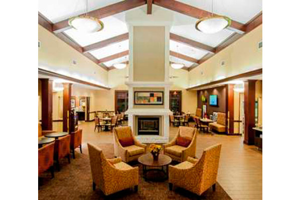 Lobby with fireplace Hampton Inn & Suites Tampa North.