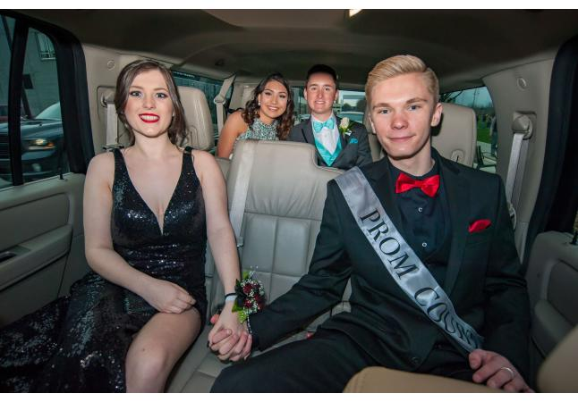Inside SUV for prom