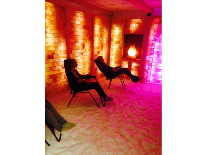 Relaxing in the Himalayan Salt Cave.