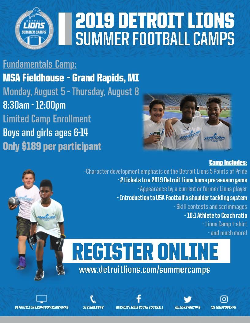 39477343 2019 Detroit Lions Summer Football Camp | Children's Activities in ...