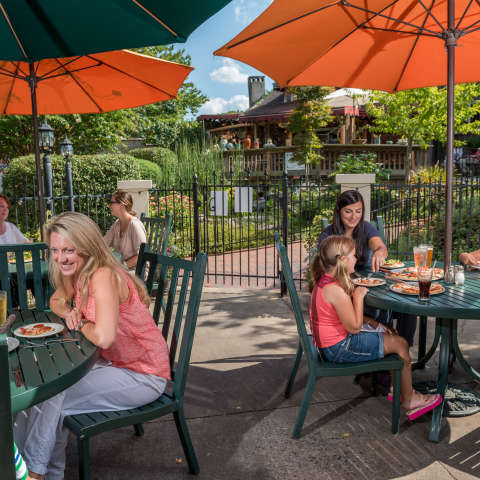 People Dining outside on a patio