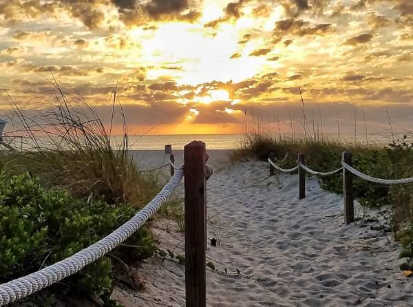 Beach Path In Sunset