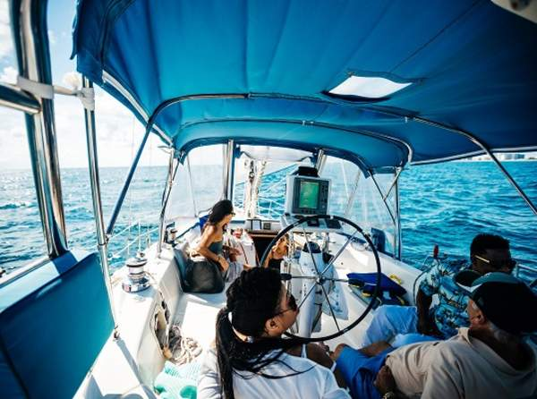 Friends sailing on the ocean
